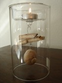 Teelichthalter ROMO aus Glas, small, mit Muscheln